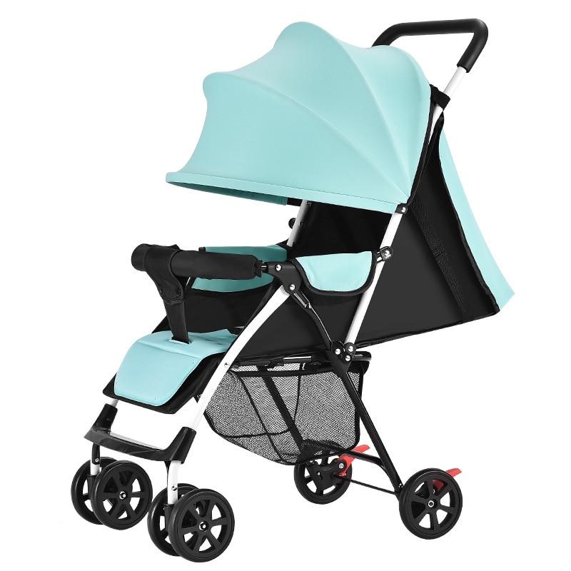 Baby stroller children ultra light portable can sit lie summer simple folding BB four-wheeled umbrella trolley