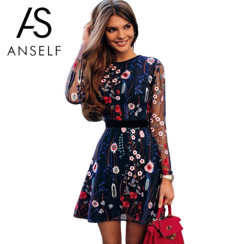 Sexy Women Floral Embroidery Dress Sheer Mesh Summer Boho Mini A-line Dress See-through Black Dress 2019 Vestidos De Festa