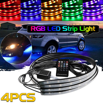 4x RGB LED Strip Under Car Tube Underglow Underbody Neon Light Kit With Remote Control DC12V 90*120cm image