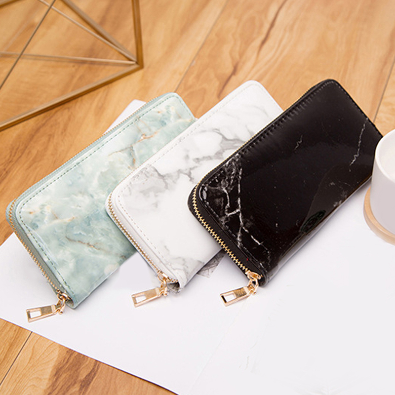 Women Wallet Long Purses Totes Feminina Marble Patent Leather Clutch Bags Girls Zipper Card Coin Money Holder Clutch Pack