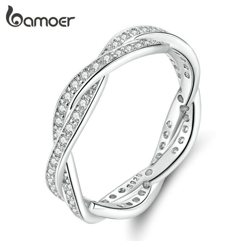 Bamoer Trendy Classic Silver Minimalist Simple Wavy Zircon Ring Size 6 7 8 9 Women Fine Jewelry Female Anniversary Gift GO7222