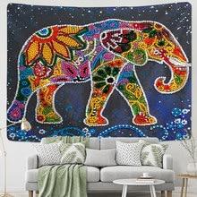 Tapiz de elefante perla de colores 3D estilo mosaico Hippie bohemio, tapiz de pared, tela de Mandala, decoración para sala de estar