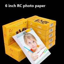 100 folhas lustrosas 4r 6 polegadas rc papel de foto para a impressora a jato de tinta material de impressão papel fotográfico cor revestida