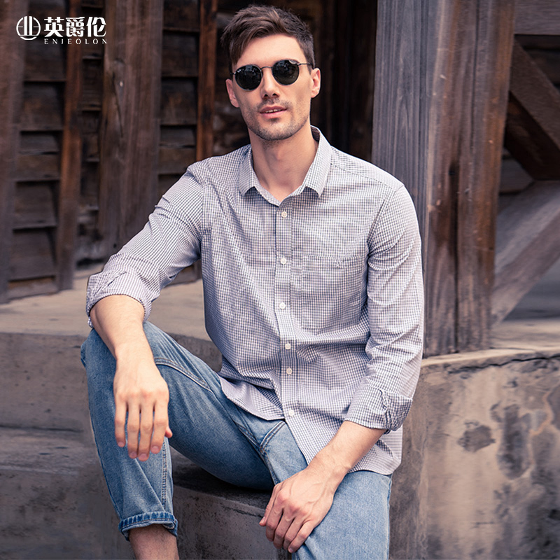 Enjeolon Long Sleeve Shirt Men's 2020 Autumn New Young Causal Fashion checked shirt CX2302 1
