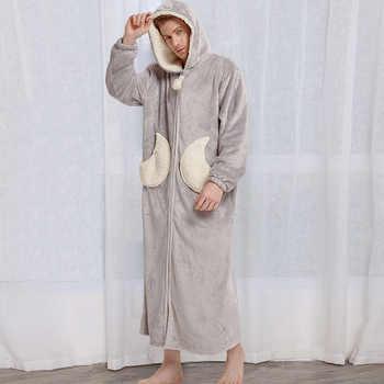 Men Winter Plus Size Long Cozy Flannel Bathrobe Star Thick Warm Coral Plush Zipper Bath Robe Night Dressing Gown Women Sleepwear - Category 🛒 Underwear & Sleepwears