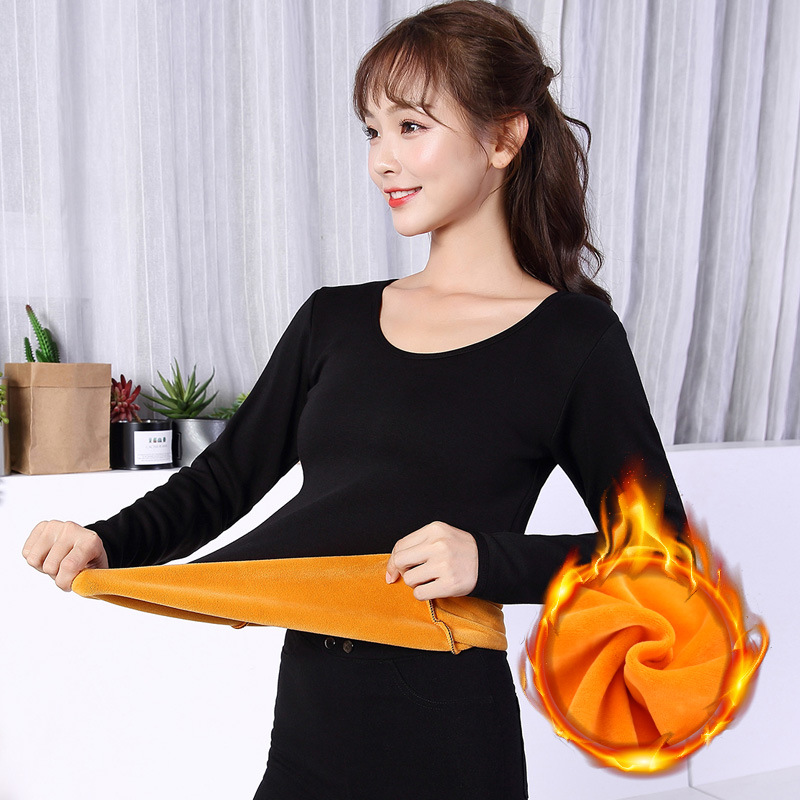 Autumn And Winter New Products WOMEN'S Thermal Underwear Double Layer Brushed And Thick Golden Fleece Slim Fit Wholesale