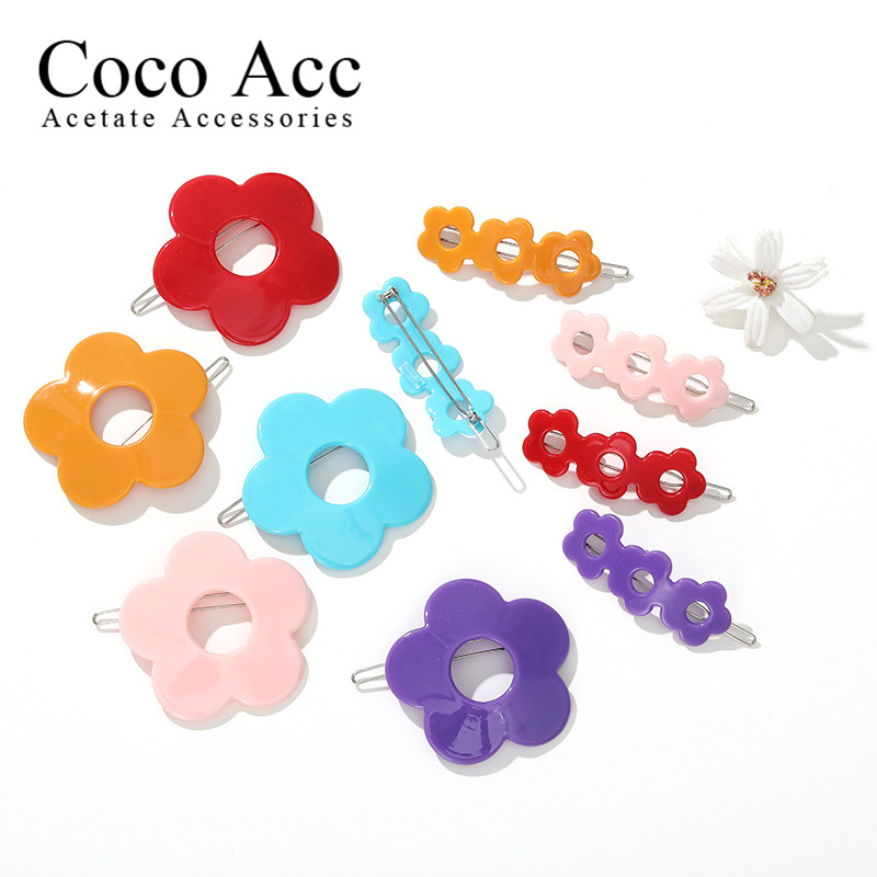 Wholesale Price Candy Color Acrylic Fancy Kids Girls Daisy Flower Hair Side Clips Accessories Kids Baby