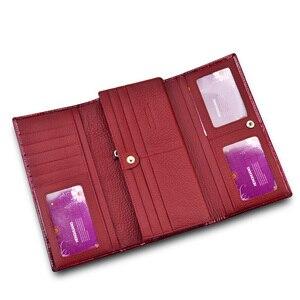 Image 3 - Portefeuille en cuir véritable pour femmes, portefeuille en cuir véritable rouge brillant, longue porte monnaie Alligator, pochette pour pièces de monnaie, portefeuille porte cartes