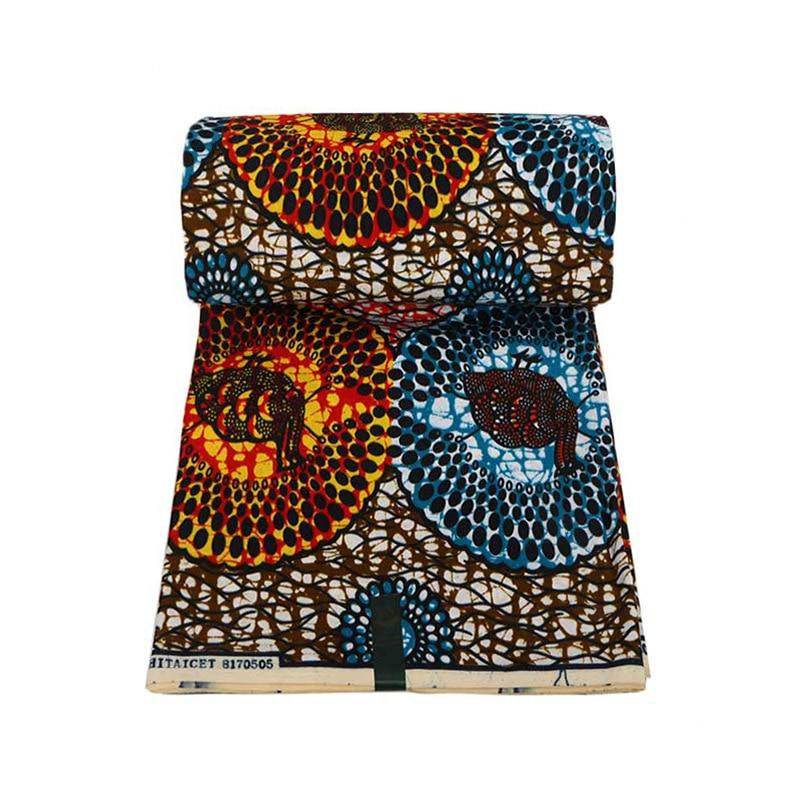 2020 Real Dutch Wax Blue & Orange Print Fabric African Fabric Ankara Pagne Wax