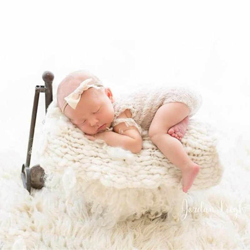 Bayi Fotografi Pakaian Mohair Rajutan Onesies Tabung Panjang Simpul Topi Set Studio Menembak Foto Prop Aksesoris Baru Lahir Wol Pakaian