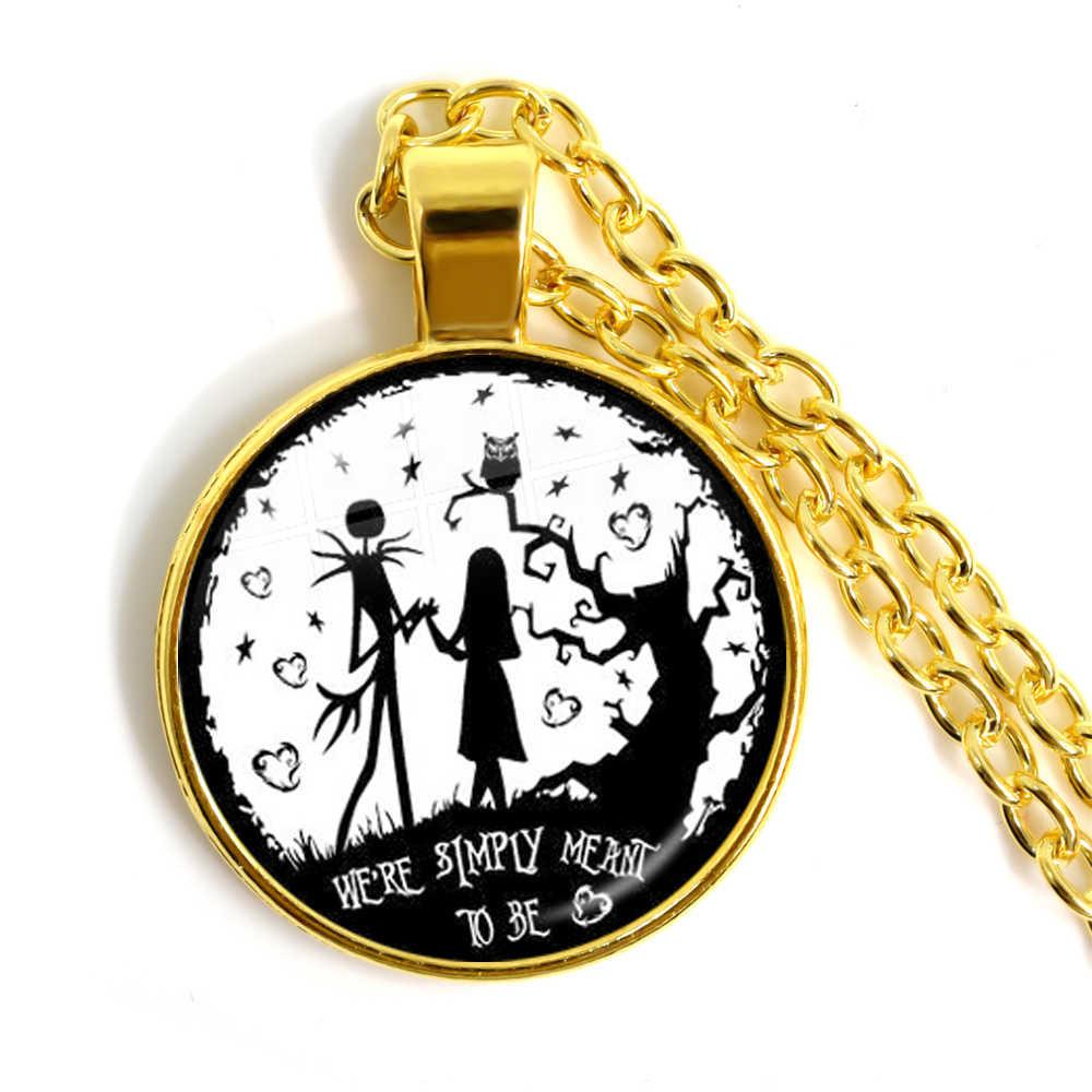 Cauchemar avant noël pendentif collier Jack Skellington 25mm verre Cabochon bijoux cadeau de noël pour garçon fille amis