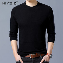 HIYSIZ Striped Sweaters Men 2019 Casual Autumn Winter Wool Fashion Brand Streetwear O-Neck Long Sleeves Pullover For SW018