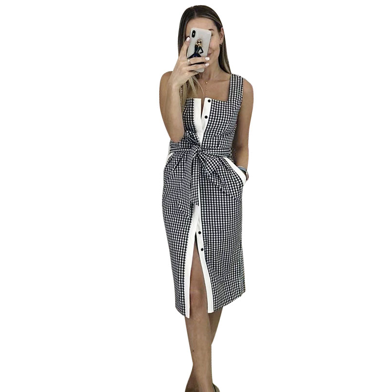 MVGIRLRU Women Plaid Spaghetti Strap Dress Office Lady High Waist Sashes Dress Single Breasted Sling Dresses