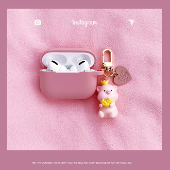 Cute Pig Pendant For Airpods Pro Case Silicone Bluetooth Earphone Accessories Headphones Protect Cover For Air Pods 1/2 Fundas 3d lucky rat cartoon bluetooth earphone case for airpods pro cute accessories protective cover for apple air pods 3 silicone