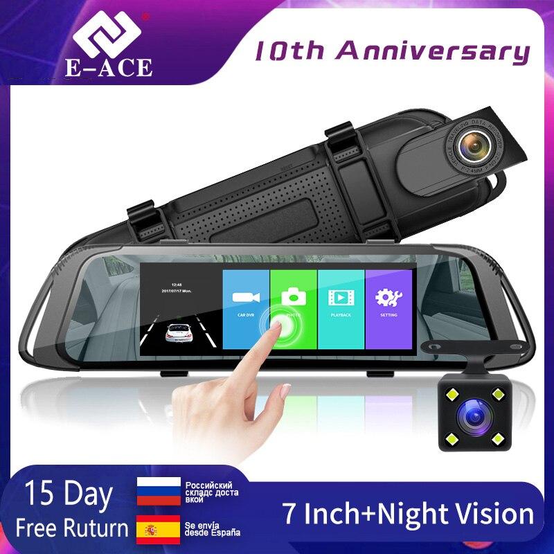 E ACE Car DVR 7.0 Inch Touch Video Recorder Mirror Camera FHD 1080P Dual Lens with Rear View Camera Auto Registrator Dash Cam|DVR/Dash Camera| |  - title=