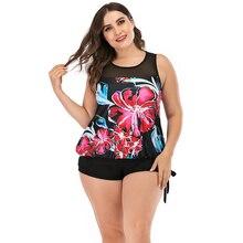 цена на Plus Size 4XL Print Tankini Set Large Size Swimwear Women Split Boxer Shorts Swimsuit Monokini Two Piece Bodysuit Straps 2020
