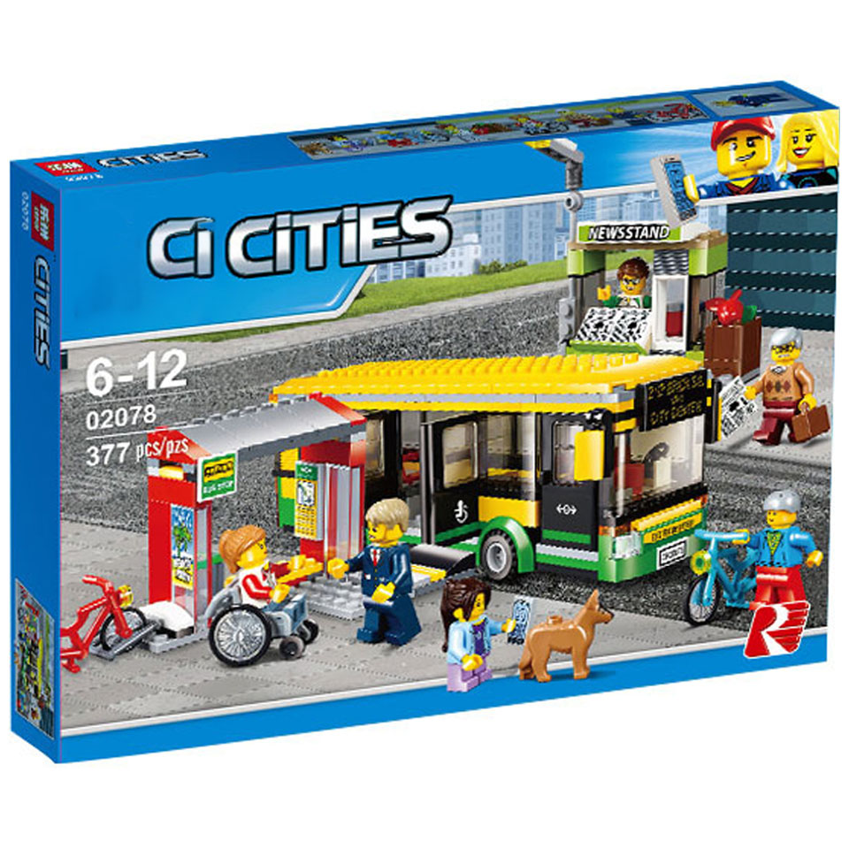 02078 60154 Compatible Lepining City Town Bus Station Classic Marvel Building Blocks 377pcs Newsstand Model Bricks Toys