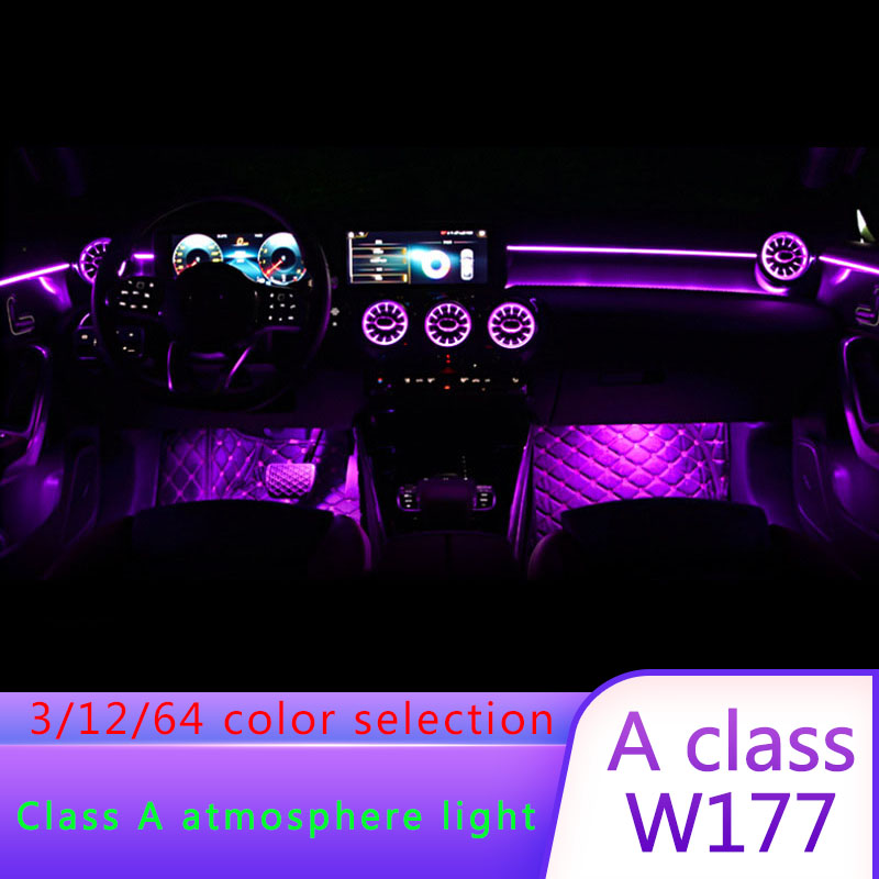 For Mercedes-Benz W177 New A-class A180L A200L 64-color Ambient Light Central Control Atmosphere Light