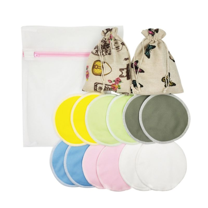 Reusable Breast Pads Washable Organic Bamboo Fiber Breastfeeding Nursing Pads