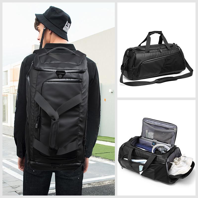 XC Men Gym Bag Large Travel Training Fitness Workout Sports Bag Backpack Waterproof Dry Wet Shoulder Laptop Bag 62x26x26cm T8839