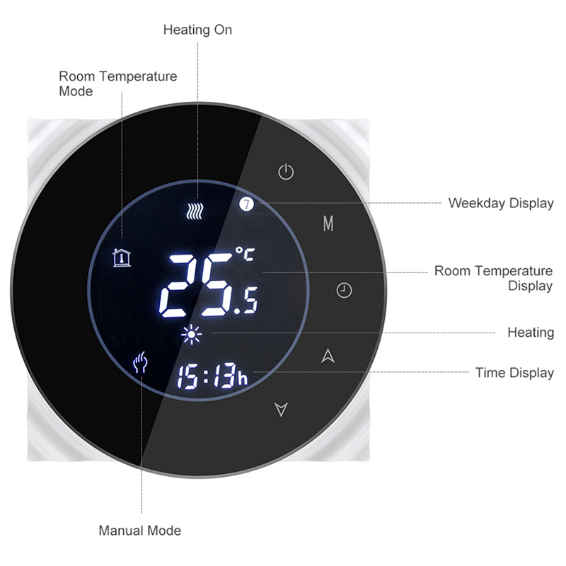 Wifi Smart Water/Gas Boiler Thermostat Tuya Remote Control Backlight Weekly Programmable LCD Touch Screen Temperature Controller 4