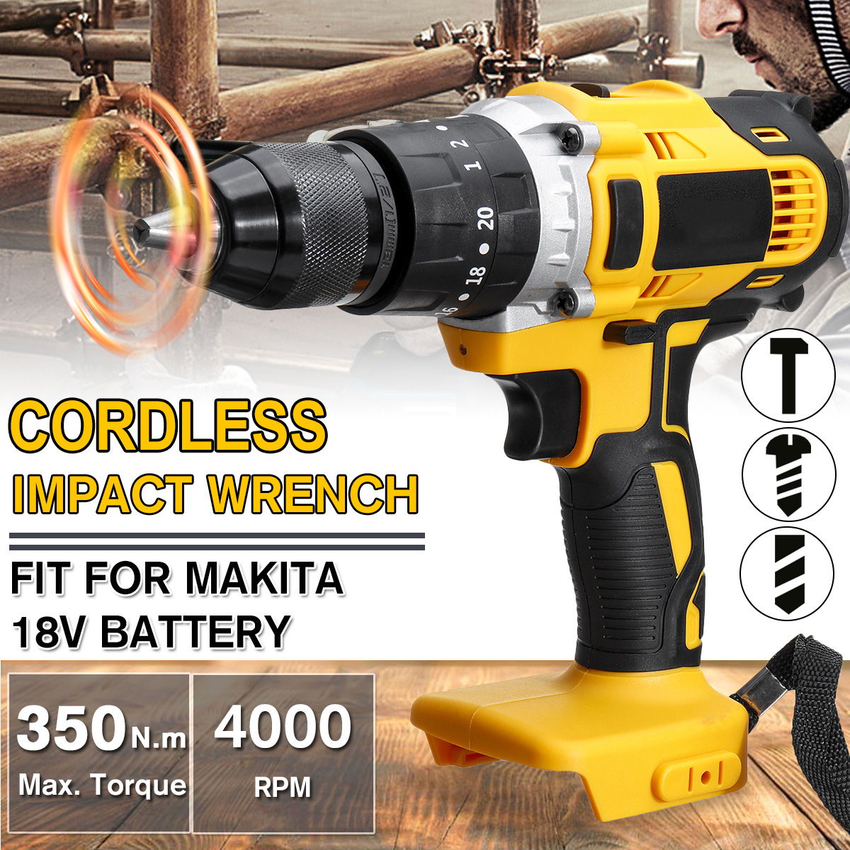 3 In 1 18V  Electric Cordless Impact Drill 13mm Rechargable Electric Screwdriver Drill For Makita Battery 18V