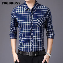 цена COODRONY Brand Men Shirt Fashion Plaid Business Casual Shirts Long Sleeve Cotton Shirt Men Clothes Pocket Camisa Masculina 96095