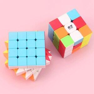 Image 4 - Qiyi Cube magique professionnel 2x2 3x3 4x4 5x5, Puzzle guerrier avec 2x2x2 3x3x3 4x4x4, jeu sans autocollants jouet de Cube