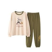 Осенне зимние женские хлопковые пижамы милая Домашняя одежда