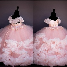 Pink Lace Beaded Flower Girl Dresses Ball Gown Hand Made Flowers Little Girl Wedding Dresses Vintage Pageant Kids Gowns