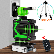 12 Lines 3D Laser Level Wireless Remote Self Leveling 360 Horizontal & Vertical Cross Line Green Laser With Battery & Tripod