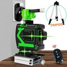 12 satır 3D lazer seviyesi kablosuz uzaktan kendini tesviye 360 yatay ve dikey çapraz çizgi yeşil lazer pil ile ve Tripod