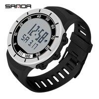 SANDA Digitale Uhr Männer Edelstahl Fall Sport Uhren Für Männer 50M Wasserdicht Alarm Military Armbanduhr Relogio Masculino