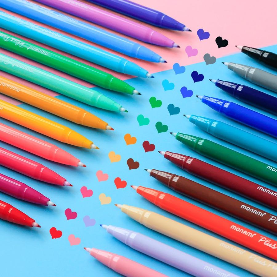 24 Color/lot Gel Pens Monami Plus Pen Korean Stationery Canetas Papelaria Zakka Gift Office Material Escolar School Supplies