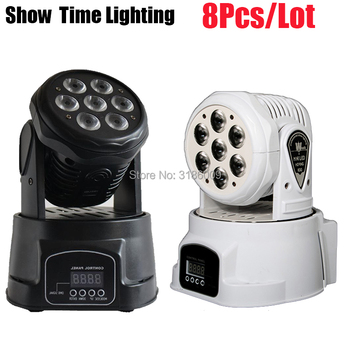 7Pcs 10W RGBW 4IN1 Mini Dj Led moving head light led Stage effect use for DJ Bar Club Disco Home entertain Wash background 2pcs lot 4 in 1 led bar 7 10w moving head light rgbw 7 leds disco wash nightclub rainbow effect projector for wedding show