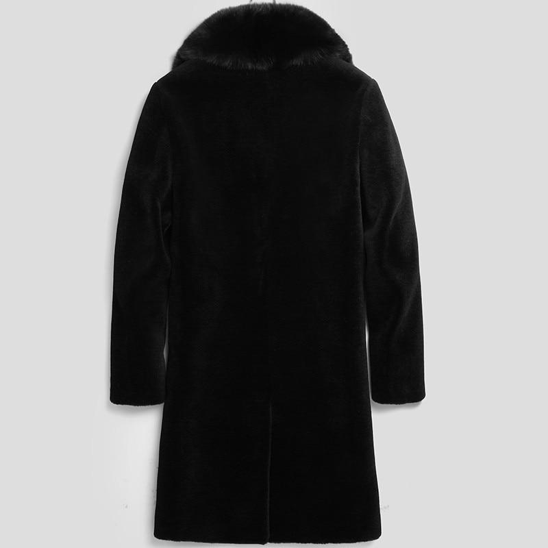 100% Wool Coat Winter Jacket Men Real Sheep Shearling Fur Long Coats Mens Fox Fur Collar Warm Jackets 5xl LSY070072 MY1612