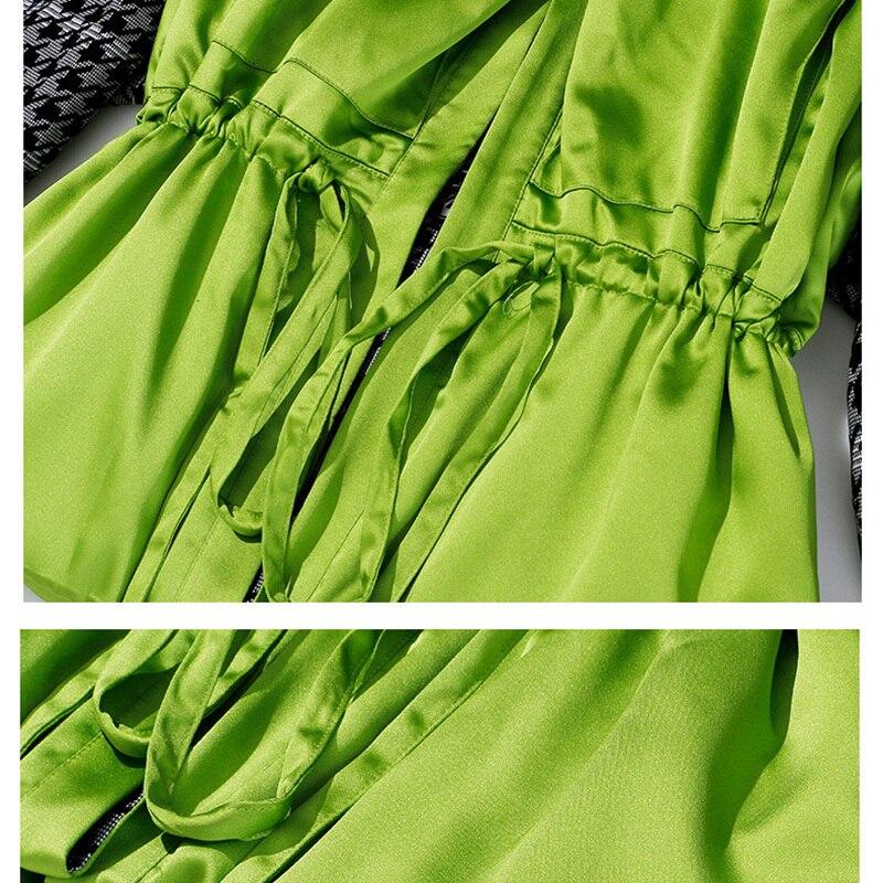 [EAM] Loose Fit Plaid Drawstring Split Big Size Jacket New Lapel Long Sleeve Women Coat Fashion Tide Spring Autumn 2020 1H203 5