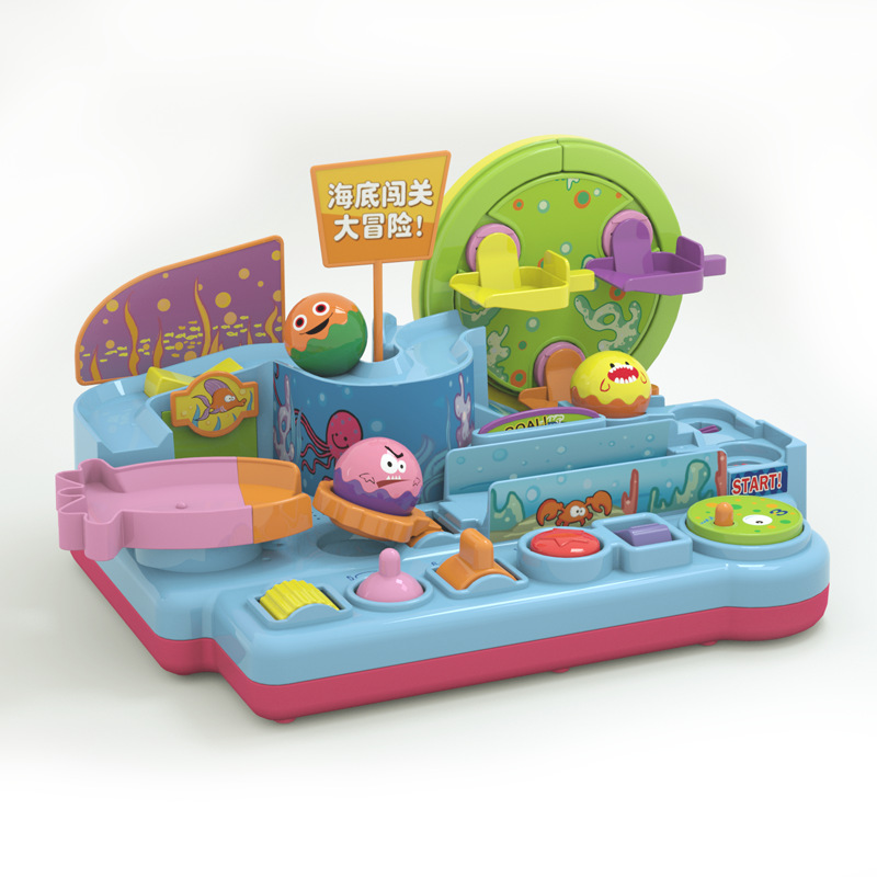 Bebé mar brillante paso a través de la gran aventura pista de juguete del tren bola rodante rompecabezas de deslizamiento juguete educativo temprano niño niña coche regalo - 5