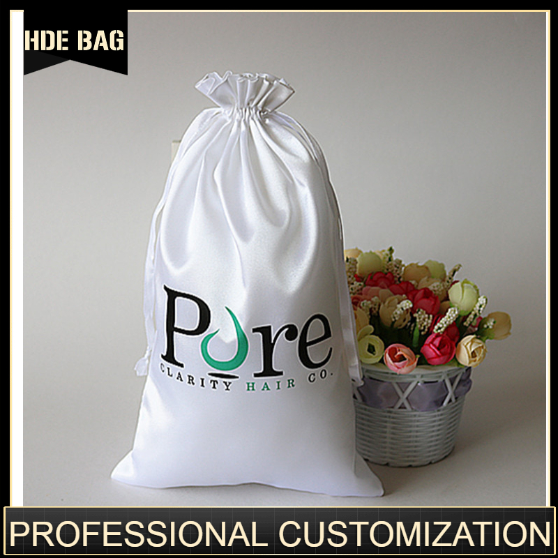 Custom Satin Hair Extension Bag For Packaging Jewelry/Makeup/Gift/Wedding/Party/Storage/Shoe Bags Silk Dustproof Pouches