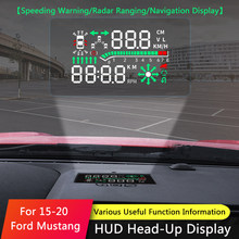 Qhcp carro hud seguro drive display refkecting brisa cabeça up display tela projetor etiqueta apto para ford mustang 2015-2019