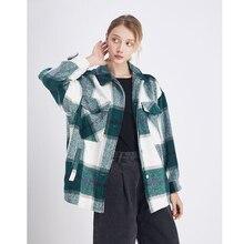 Vintage women long sleeve coat Pockets Oversized Plaid Jacket
