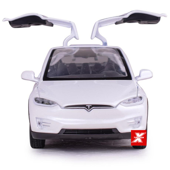 Hot 1:32 scale wheels diecast pure electric car Tesla MODEL X90 metal model with light sound pull back vehicle toy collection 1 32 scale car model x90 tesla alloy 1 32 diecast model car w sound