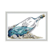 Sea In A Bottle Scenery Painting Counted Cross-stitch Kits Sale 14CT Printed Canvas DIY for Needlework Sets for Embroidery Kit