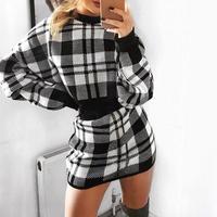 Elegant Mini Skirt Women Winter Two Piece Sets Black Knitted Plaid Sweater Dress Suit