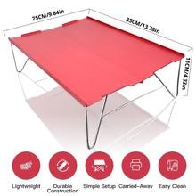 Czerwony przenośne ultralekki małe Mini aluminium Folding Camping stół biurko piknik odkryty podróże piesze wycieczki wędkowanie