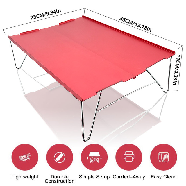 Mini mesa plegable de aluminio ultraligera, portátil, roja, para acampar, Picnic, viajes al aire libre, senderismo y Pesca