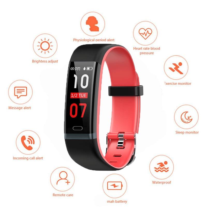 Saatler'ten Dijital Saatler'de Popüler akıllı saat 0.96 inç renkli ekran kalp hızı uyku izleme kalori pedometre çağrı mesaj hatırlatma akıllı saat 2019 title=