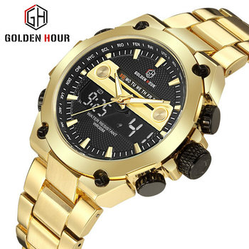 GOLDENHOUR Digital Wristwatch Gold Watch Men Military Watches Mens 2020 Quartz Calendar Clock Datejust часы мужские спортивные - discount item  80% OFF Men's Watches