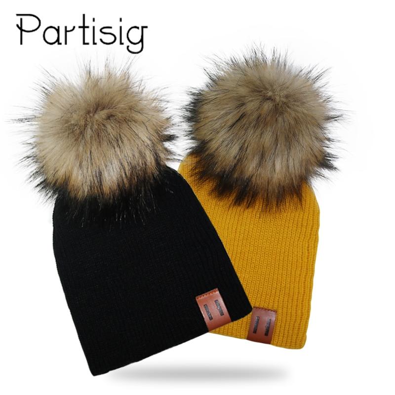 Kids Cap Winter Knit Pompom Hat For Boys Crochet Girls Hats Children's Hats Caps Bonnet Baby Hat