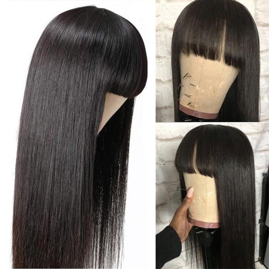 Perucas de cabelo humano reto malaio com franja para as mulheres remy peruca humana reta 150% glueless barato peruca completa máquina feita peruca